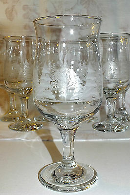 LIBBEY WHITE TREES SNOW WATER GLASS (7 available)  tulip gold trim   all EXC