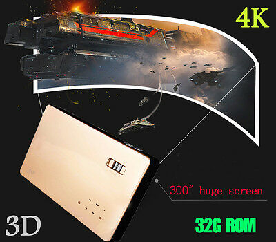 New Android4.4 Mini Home Theater 3D DLP 4K Projector UHD HDMI LED Lamp 1080P