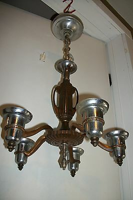 Antique Art Deco Bronze Chandelier Vtg Custard Slip Shade Chrome Ceiling Light