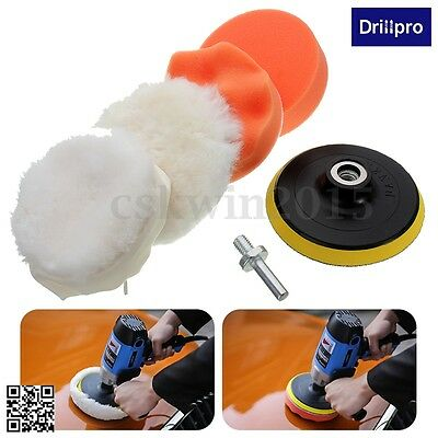 "6Pcs 4"" High Gross Polisher Buffer Pad Set + M10 Drill Adapter Car Polishing Wax"