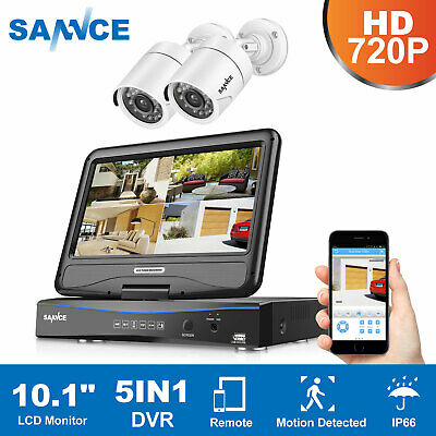 SANNCE 4CH 1080N DVR 10.1'' LCD Monitor Outdoor CCTV Security TVI Camera System