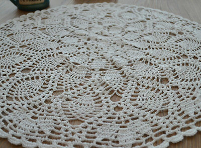 "23"" Round Cotton White Pineapple Floral Hand Crochet Table Centerpiece Doily"