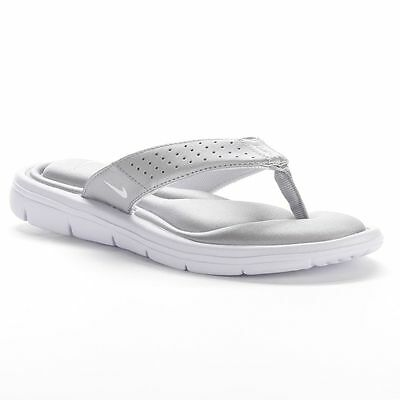 7ac41937422b NEW WOMENS NIKE Comfort Flip Flops Thong Sandals Silver White SIZE ...