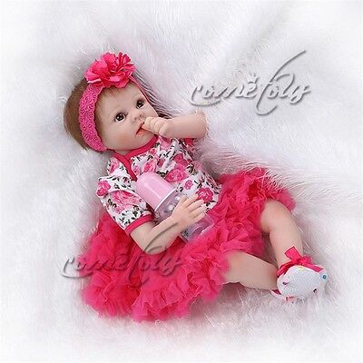 "22"" Lifelike Reborn Girl Doll Silicone Vinyl Handmade Baby Vinyl Dolls + Dress"