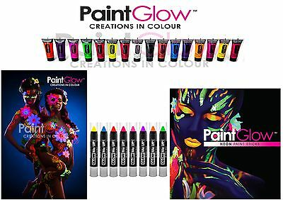 Paintglow UV Neon Glow Face Lips and Body Paint Tube Stick Fluorescence Colours