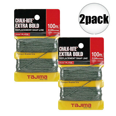 "Tajima 2 Pk 2pk 100 ft .04"" Bold Braided Replacement Chalk Line PL-ITOL New"