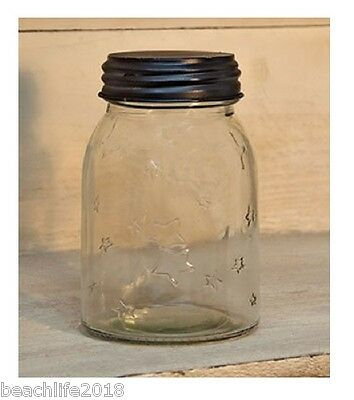 Clear Glass Mason Style Jar with Stars and Black Screw Lid