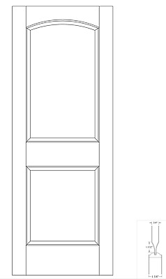 Custom Carved 2 Panel Arch Top Raised Panels Primed Solid Core Wood Doors #C2030