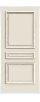 Custom Carved 3 Panel Raised Square Primed Solid Core Doors W/ Raised Moulding