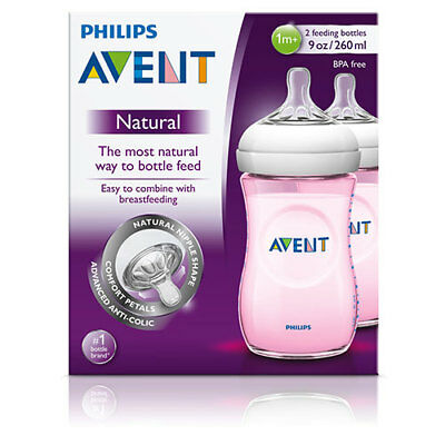 NEW Avent Baby Feeding Bottle Natural Natural Breastfeeding Shape Pink 260ml