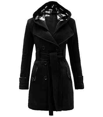 Womens Winter Warm Wool Thick Long Overcoat Parka Trench Coat Jacket Outwear A02