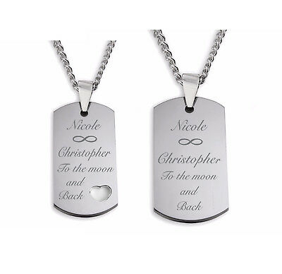Personalized Stainless Steel Dog Tag Necklace Set Custom Engraved Free