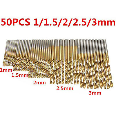50PCS Twist Drill Bits HSS High Steel Titanium Saw Bits Drilling Wood and Metal