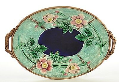 Antique Majolica Oval Floral Platter Tray England 19th Century