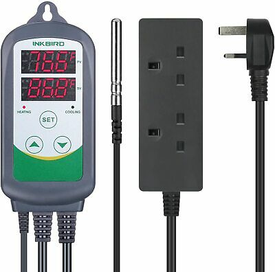 Inkbird ITC-308S UK Digital Temperature Controller Stainless Probe heater fan