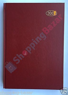 2017 A5 Diary Day a Page One Day to Page Hardback Case Bound Leather Grain Cover