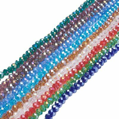 10Strands Electroplate Glass Beads Mixed Color Plated Faceted Abacus 72pcs/Set