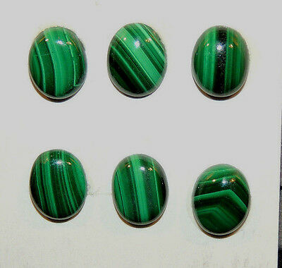Malachite 8x10mm Cabochons with 3.5mm dome Set of 6 (10001)