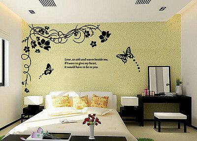 Hand Carving Vine Flower Butterfly Wall Stickers Decal Vinyl Decor UK RUI181