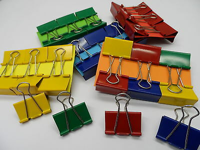 40mm Foldback Bulldog Binder Clips Single Coloured and Assorted Packs of 6 & 12