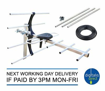 Caravan TV Aerial + 9ft 3 Section Mast Clamp 10m Cable  Digital Freeview Antenna