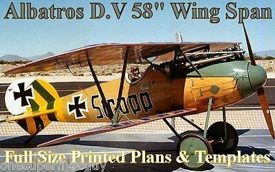 """Albatros D-V 54"""" Wing Span Giant RC Airplane Full Size PRINTED Plans & Templates"""