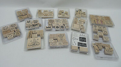 Stampin' Up Lot Of 14 Sets Of Rubber Wooden Stamps (104 Total) - Used & New