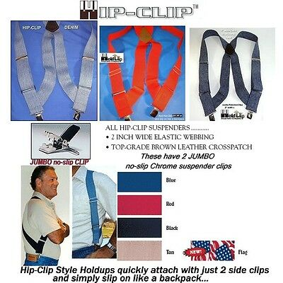 "Holdup Hip-clip Trucker Braces  2"" No Slip Clips Shoulder Holster Suspenders"