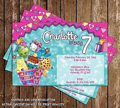Shopkins birthday party invitation 15 printed wenvelopes 1299 shopkins birthday party invitation 15 printed wenvelopes filmwisefo