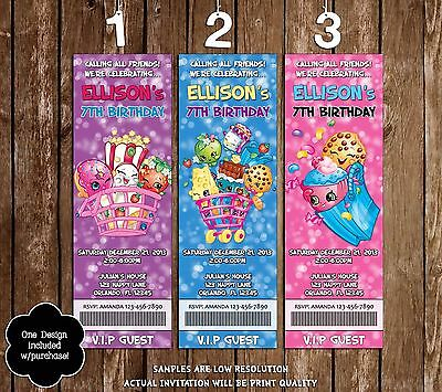 Shopkins Birthday Party Ticket Invitations - 20 Printed W/envelopes