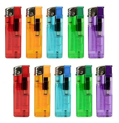 Briquet Electronique AIT Lot de 10 - Transparent et Rechargeable