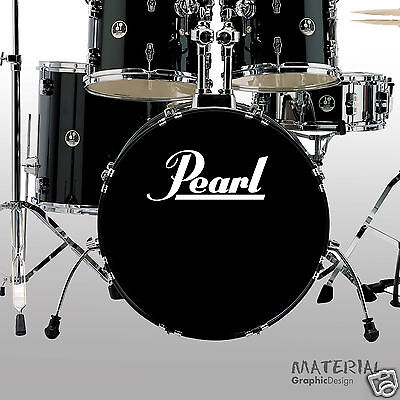2x Pearl Drums Logo Sticker Decal -  bass drum Head Drums kit Percussion Skin