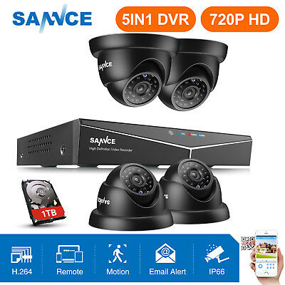 SANNCE 8CH 5IN1 DVR HD-TVI Weatherproof CCTV Home Security p2p Camera System 1TB