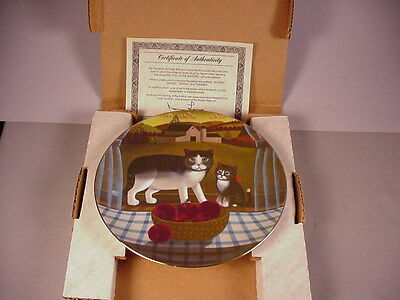 Autumn Fall Cat Collector Plate MIB Kitten 1981 Eyes of the Season w/ COA