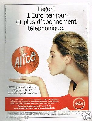 Publicité advertising 2005 Alice ADSL