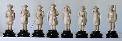 Set of 8 Antique Figural Chess Pieces(?) Height = 87mm