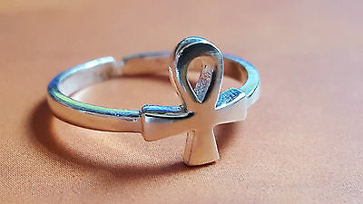 925 Sterling Silver ANKH Long life Toe Ring Crux Ansata Adjustable Pagan Wiccan