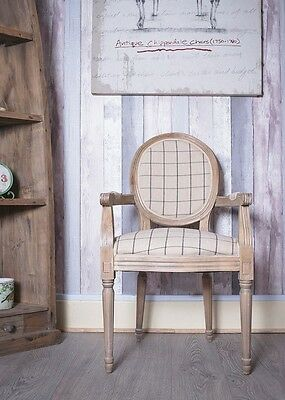 French Louis Armchair Oak Gingham Shabby Chic Antique Style Stripe Bedroom Hall
