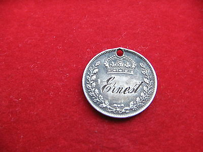 QUEEN VICTORIA THREE PENCE ENGRAVED Ernest LOVE TOKEN MUST SEE  FREE UK POST