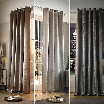 Kylie Minogue Curtains ADELPHI Velour Velvet Eyelet / Ring Top Lined Curtains
