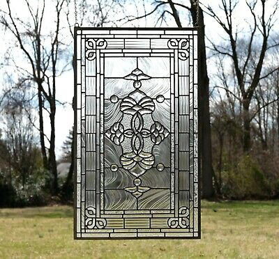 "20.5"" x 34.25"" Stunning Handcrafted stained glass Clear Beveled window panel"