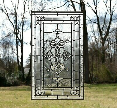 "20.5"" x 34.5"" Stunning Handcrafted stained glass Clear Beveled window panel"