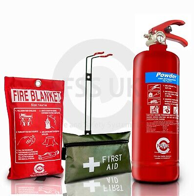 2Kg Dry Powder Abc Fire Extinguisher Home Office Car Vans Kitchen + Wall Bracket