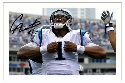 Cam Newton Carolina Panthers Signed Photo Autograph Print Nfl Football