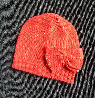 Baby clothes GIRL 3-6m soft dark red bow hat NEW! SEE MY SHOP, COMBINE POSTAGE!