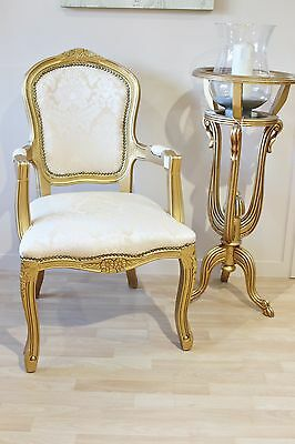 French Louis Armchair Gold Damask Shabby Chic Bed Room Antique Style Bedroom