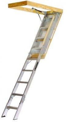 Louisville Attic Ladder Ladders Aluminum Stairs Steps - To 10ft Ceilings 350 Lb