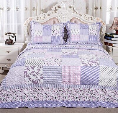 100% Cotton English Roses Bedding Quilt Bedspread Coverlet 3 PC Reversible King