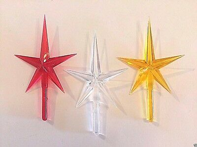 RED CLEAR GOLD MODERN MEDIUM STAR TOPPERS Vintage Ceramic Christmas Tree Lights