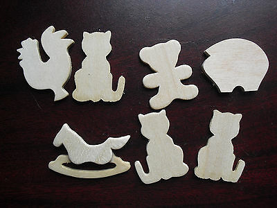 """Lot of 7 Vintage 1970s Small Thin Wood Animal Figurines 1 to 1 1/2"""" Tall"""